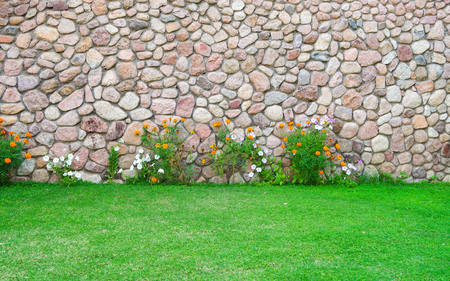 stone wall and green grass with flowers landscape