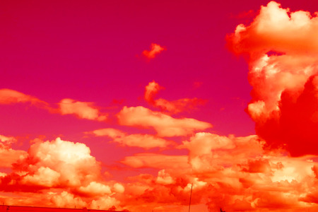 fiery red clouds Stock Photo