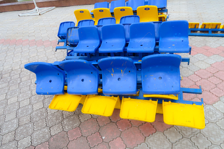plastic seats for the stadium in the heap Banco de Imagens