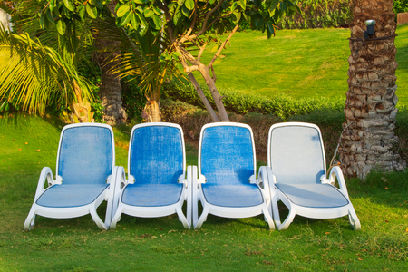 Sunbeds on green grass waiting for tourists. View at luxury resort hotel of tropical coast.
