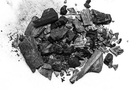 black dust powder charcoal  on white background Stock Photo