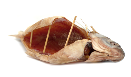 dried fish for food on a white background