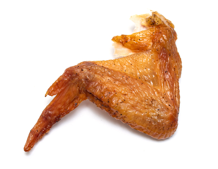 smoked chicken on white background