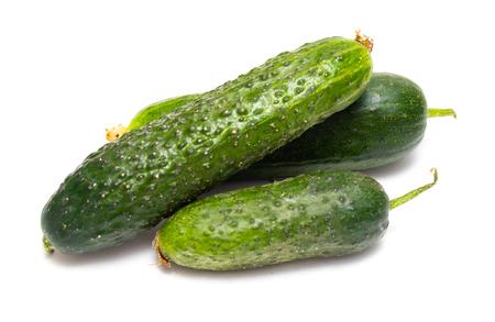 fresh green cucumber on white background 免版税图像