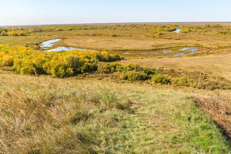landscape autumn steppe hills sky nature