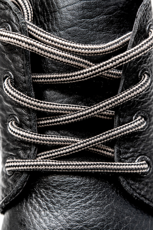 shoelaces on leather shoes close up