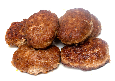 fried meatballs on a white background