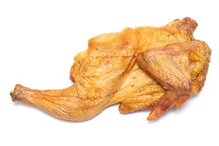 smoked chicken on white background
