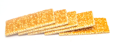 sesame crackers cookies on white background Reklamní fotografie