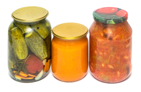 jar of pickled cucumber salad on white background Banco de Imagens