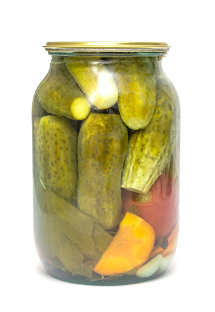 jar of pickled cucumbers on white background