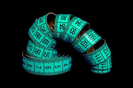 meter blue ribbon on a black background Stock fotó