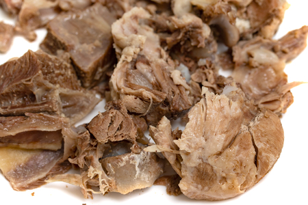 boiled beef meat closeup pieces of food, background