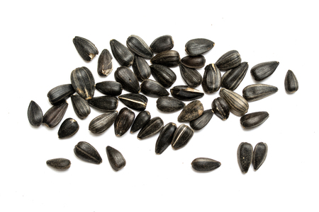 Black sunflower seeds on a white background.