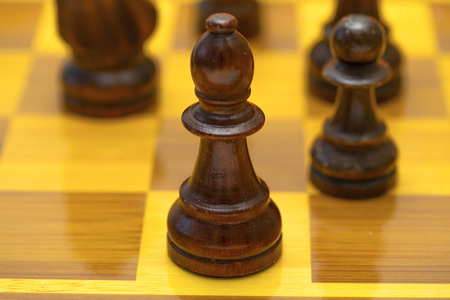 Chess pieces on a chessboard, wooden pieces.