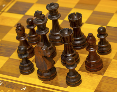 Chess pieces on a chessboard, wooden pieces. Imagens