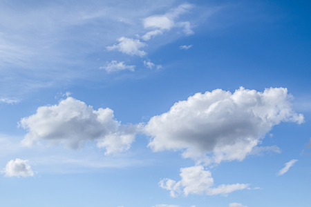 White clouds in the blue sky. Clouds are suspended in the atmosphere condensation of water vapor. Stok Fotoğraf