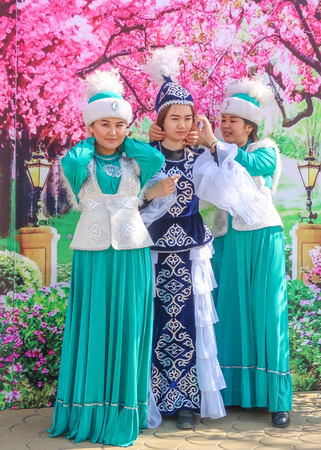 Petropavlovsk, Kazakhstan - May 1, 2019: Songs and dances in the national costumes of the peoples of Kazakhstan. May 1 in Kazakhstan is the Day of Unity of the People.