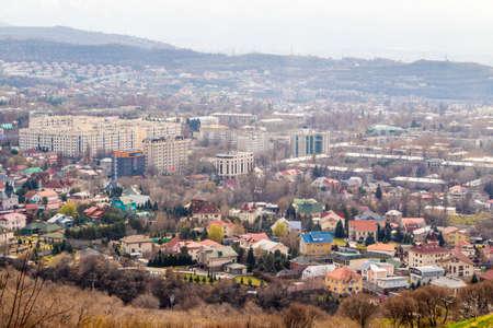 ALMATY, KAZAKHSTAN - March 29, 2019: Modern architecture in Almaty city, Kazakhstan. View from above.