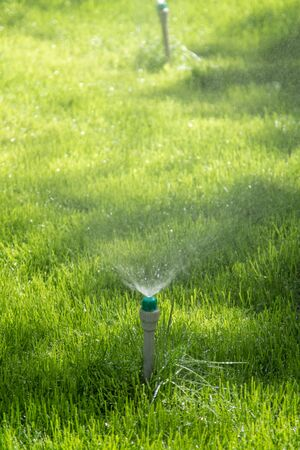 Irrigation System Watering the green grass with bokeh background.