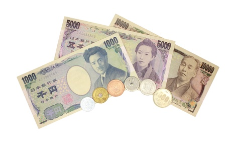 Japanese banknotes and coins ,insolated