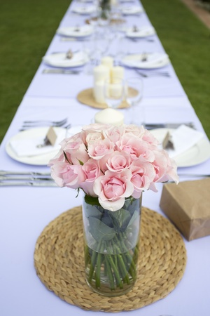 Table setting for wedding reception or event photo