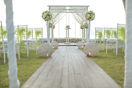 wedding decor: Wedding setting on the garden. Stock Photo