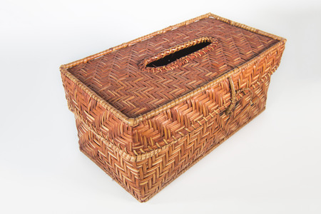 basketry: Tissue box of rattan basketry Stock Photo