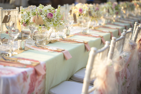 Table setting for an wedding reception Stockfoto