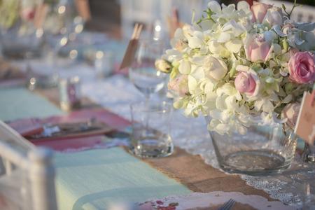 Table setting for an wedding reception Foto de archivo