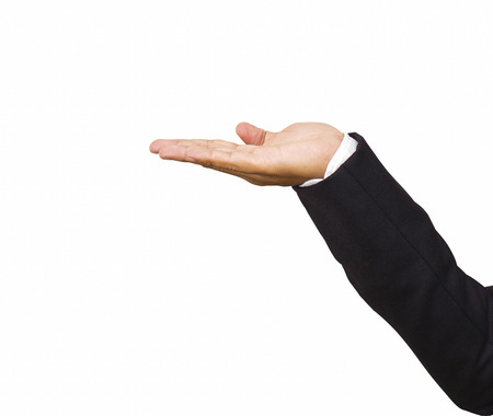 Business hands as if holding something . white background photo