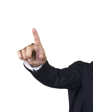 business man hand pointing in suit isolated photo