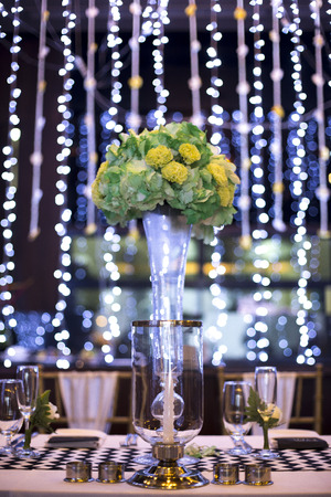 wedding decor: Table setting for an wedding reception or an event