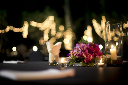 formal dinner party: Table setting for an wedding reception or an event