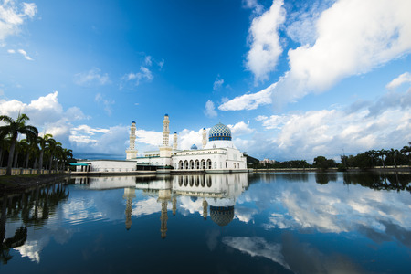likas: Kota Kinabalu City Floating Mosque, Sabah Borneo Malaysia Stock Photo