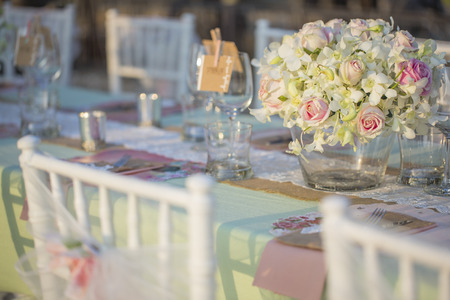 table decorations: Table setting for an wedding reception Stock Photo