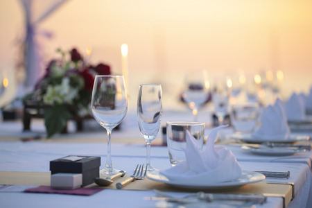 catered: Table setting for an wedding reception Stock Photo