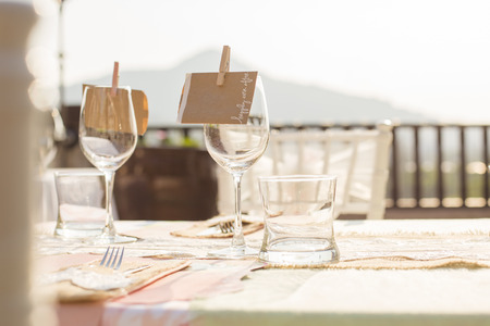 serviette: Table setting for an wedding reception Stock Photo