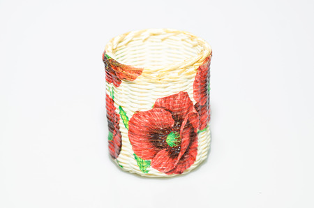 cylindrical: Cylindrical baskets,Floral red print