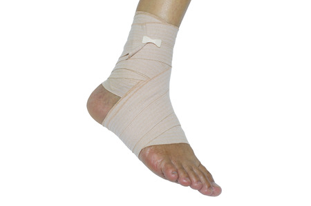 Foot injury, Bandaged foot on a white background