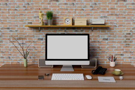 Maquette de lieu de travail avec ordinateur et étagère à livres.