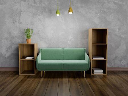 3D-Rendering des Wohnzimmers mit Sofa und Bücherregal. Standard-Bild