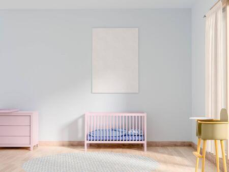 Mock-up poster in de babykamer.