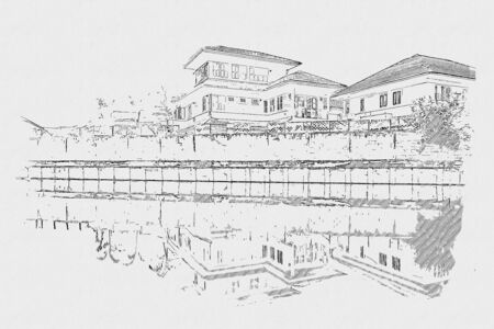 Scenery home with pencil sketch on paper texture background. Sketch drawning of village is near the canal.