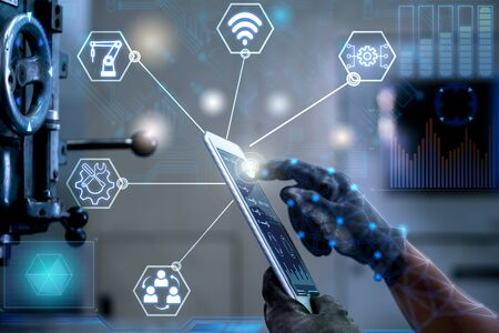 Engineer control welding heavy automation with smart connection new technology in the future.