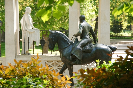 The sculptural group rider andaluz, bronze and stone, Retiro park, Madrid, Spain photo