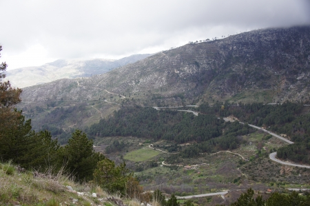 terracing: Mountain pass of Navarredonda, access to Gredos and Avila, scene of the novel by Hemingway for whom the bell Tolls, Avila, Spain Stock Photo