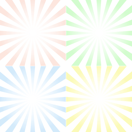 Set of backgrounds with centered symmetrical rays and gradient, in vector