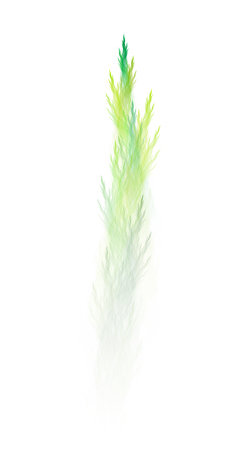 Pale green climbing sprouts, creative abstract fractal illustration, isolated on white background