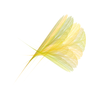 Bright yellow fractal feather or flower, creative abstract fractal illustration, isolated on white background